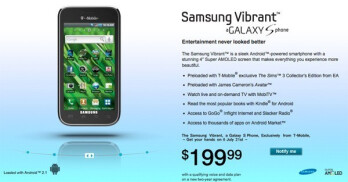 Samsung Vibrant confirmed for T-Mobile, coming July 21st