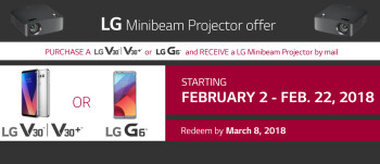 Deal: Buy a T-Mobile LG V30 or G6, get a free LG Projector ($249.99 value)