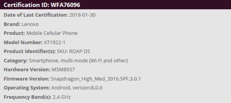 Moto G6 Play is Wi-Fi certified