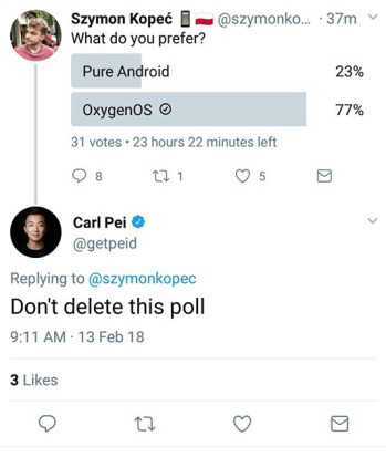 OnePlus co-founder Carl Pei tried to troll Xiaomi's ephemeral polls, but it backfired beautifully
