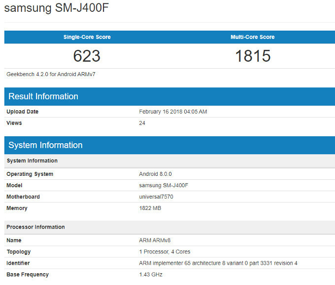 The Samsung SM-J400F could be the Galaxy J4 (2018) - Samsung Galaxy J4 (2018) leaks with entry-level specs