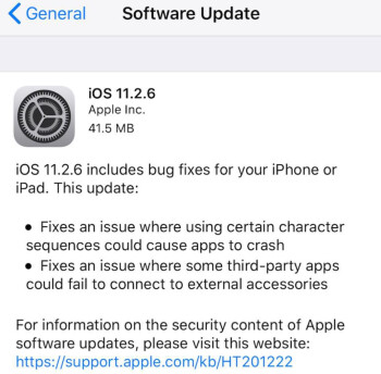 Apple send out iOS 11.2.6 via an OTA update