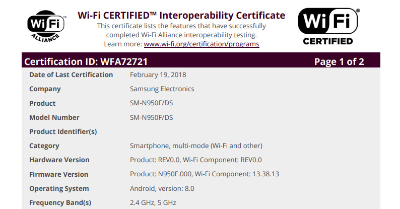 Newly-scored Wi-Fi certification brings the Android Oreo update an inch closer to your Galaxy Note 8