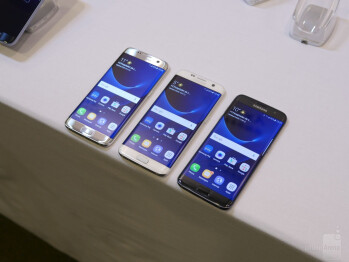 From L to R - LG G5, Samsung Galaxy S7 edge, and Samsung Galaxy S7.