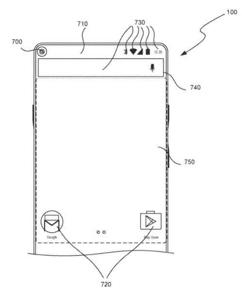 This patent shows the camera in the corner doubling as a button to activate the shooter