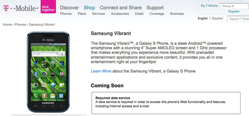 Samsung Vibrant creeps its way onto T-Mobile's site as 'coming soon'