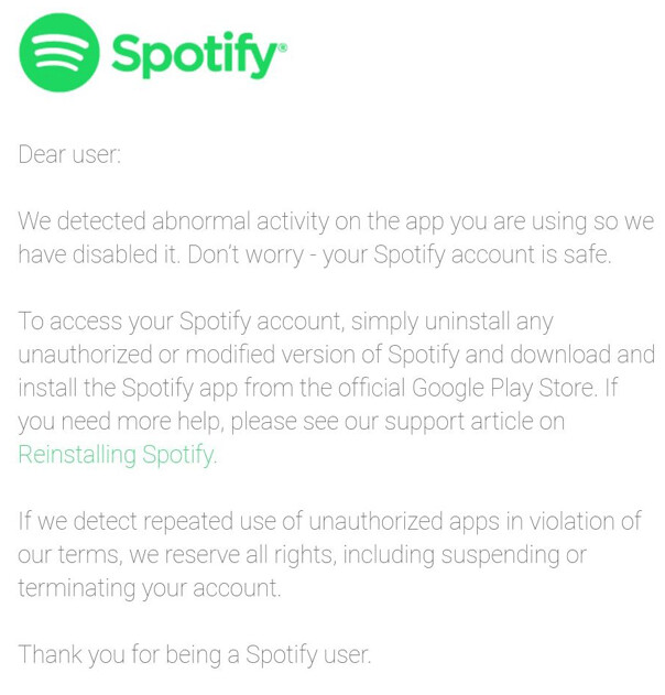 Email from Spotify informing premium service freeloaders that their days are numbered - About to go public, Spotify shuts the door on premium service freeloaders