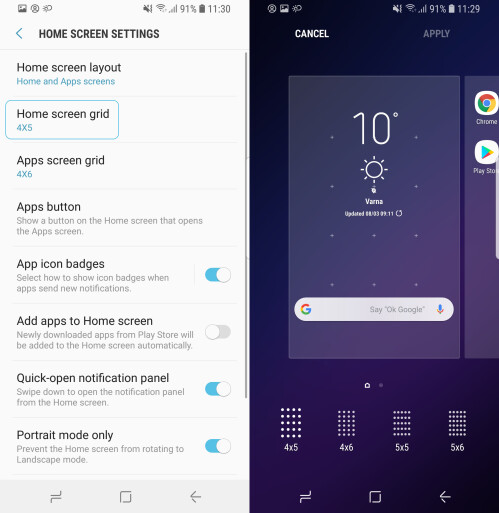 Change the size of the home screen grid with smaller or larger icons