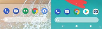 Android P dock (esquerda) vs Android Oreo dock (direita) no Pixel 2 XL