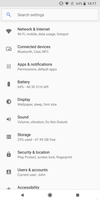 Android 9 Pie settings menu (left) vs Android Oreo settings menu (right)