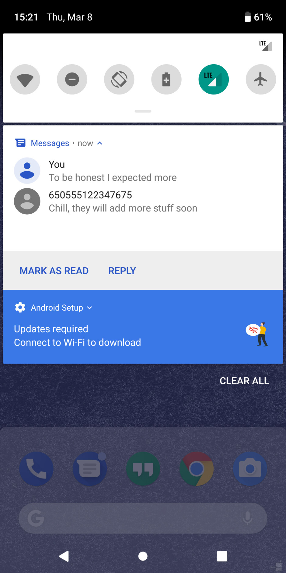 You will be able to keep up with message threads straight from the notification shade - Android 9 Pie review: Perfecting the confectionery recipe