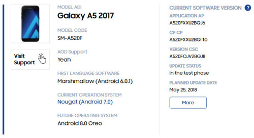 The rest of the Samsung devices scheduled for the Android 8.0 update