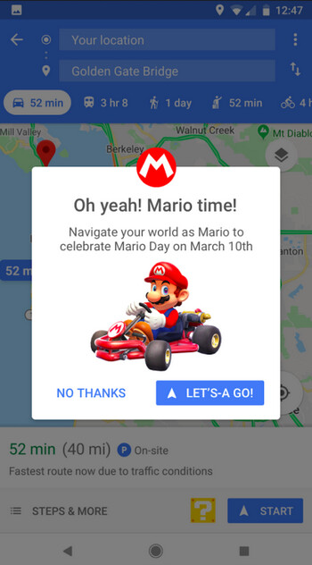 Mario and his kart can replace your location icon on Google Maps for one week - Google Maps will let you navigate as Mario in his kart for one week starting tomorrow, MAR10 Day