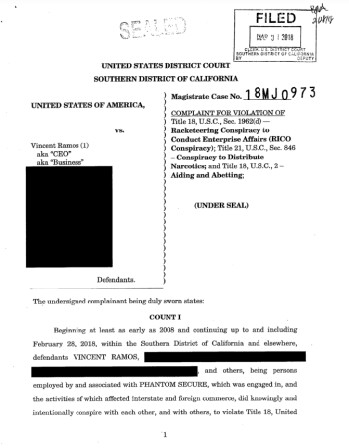 Partially redacted complaint filed by the feds against Vincent Ramos