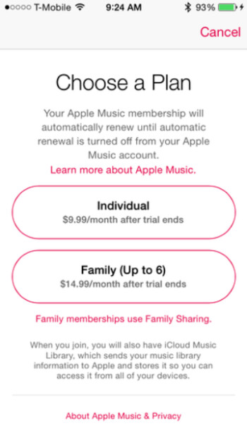 Pricing for Apple Music