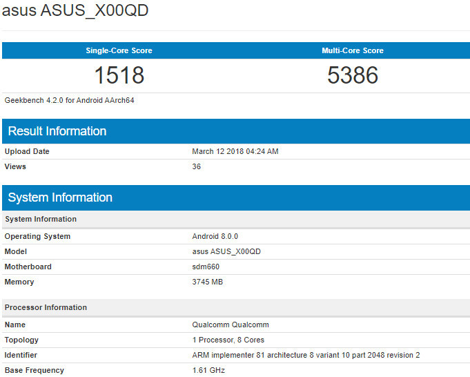More information about the unannounced Asus ZenFone 5 Max appears in benchmark