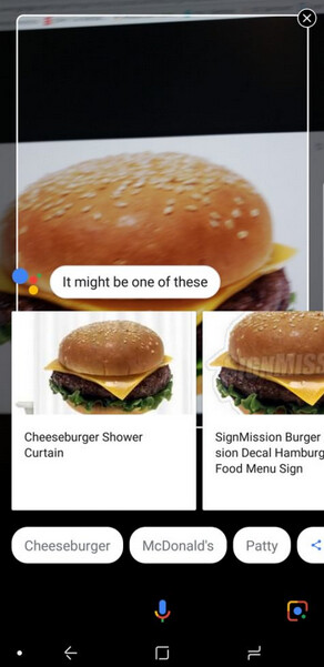 The camera version of Google Lens knows a burger when it sees one - Samsung Galaxy S8/S8+, Galaxy S9/S9+ and Galaxy Note 8 now receiving Google Lens (camera version)