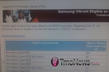 Samsung Vibrant can only be BO in T-Mobile's BOGO promotion