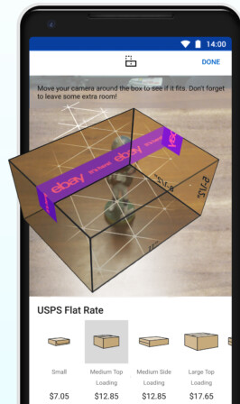 On select Android handsets, the eBay app will use AR to help sellers select the appropriate box for shipping - eBay app uses AR to help sellers select the correct shipping box size