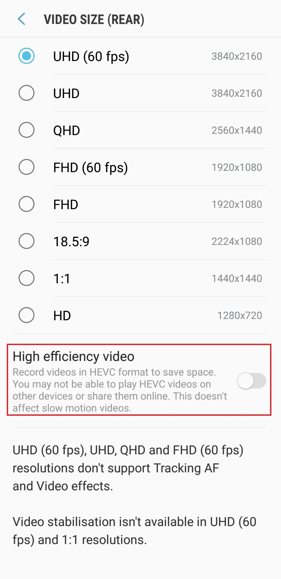 Here's how much memory you save with the new Galaxy S9 high-efficiency video codec