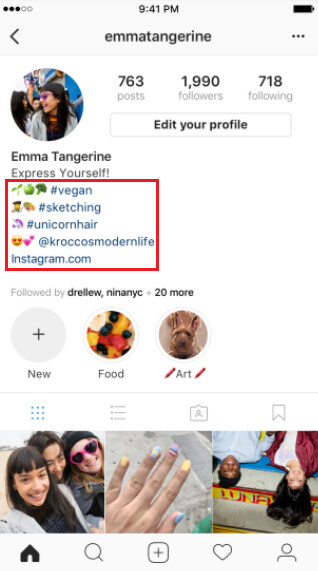 Update to Instagram allows users to put hashtag and profile links on their bio - Instagram now allows users to add hashtag and profile links to their bios