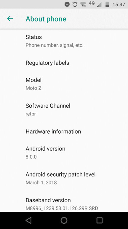 Motorola pushing the Moto Z Android 8.0 Oreo update to some users