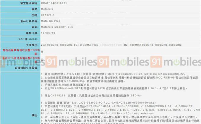Moto G6 Plus release drawing near, new regulatory filing shows