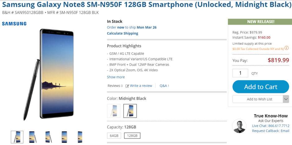 Deal: Save $160 on the unlocked Samsung Galaxy Note 8 (128 GB, Exynos variant)