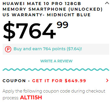 Deal: Buy a Huawei Mate 10 Pro for $649.99 ($150 off)