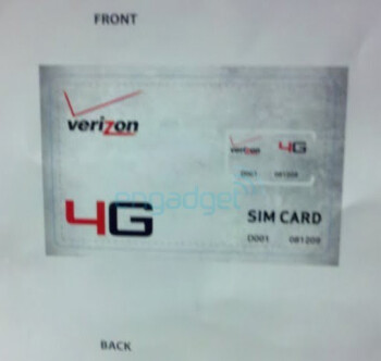 Verizon's LTE SIM card spotted flashing its 4G logo