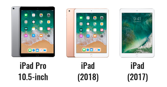 The new 9.7-inch iPad with Pencil support (middle) vs the iPad Pro 10.5-inch (left) and last year's affordable, $329 iPad (right) - New 9.7-inch iPad vs iPad Pro and the old 9.7-inch iPad: what's different, anyway?