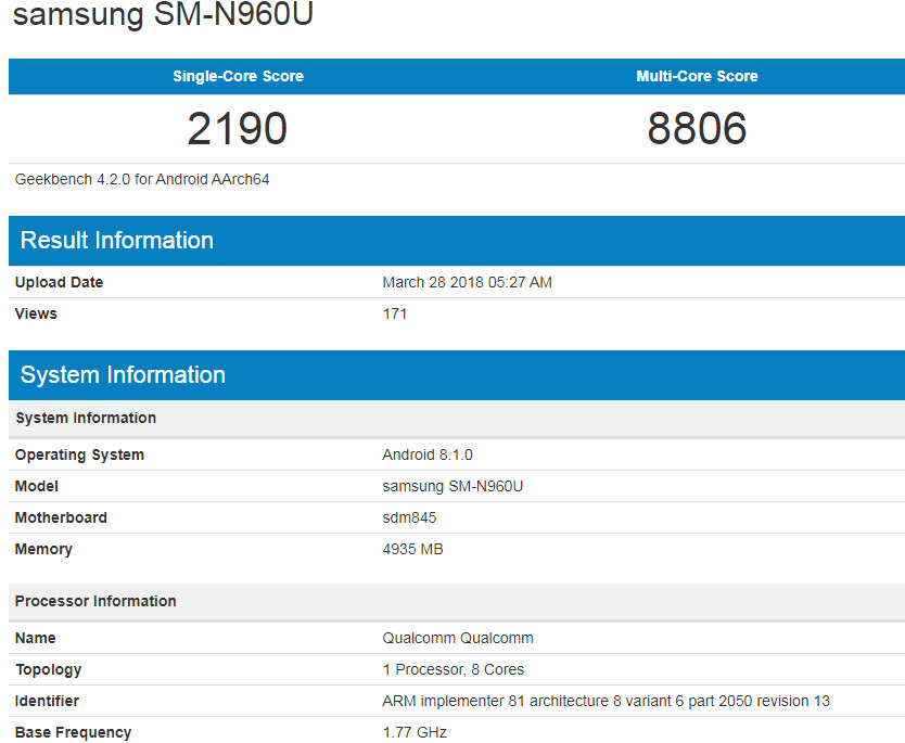 New Samsung Galaxy Note 9 benchmark test reveals Snapdragon 845 CPU, 6 GB of RAM