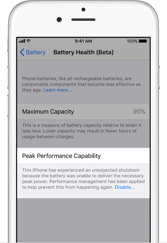 Performance Managed - iOS 11.3 Battery Health and Performance Throttling: what is it exactly?