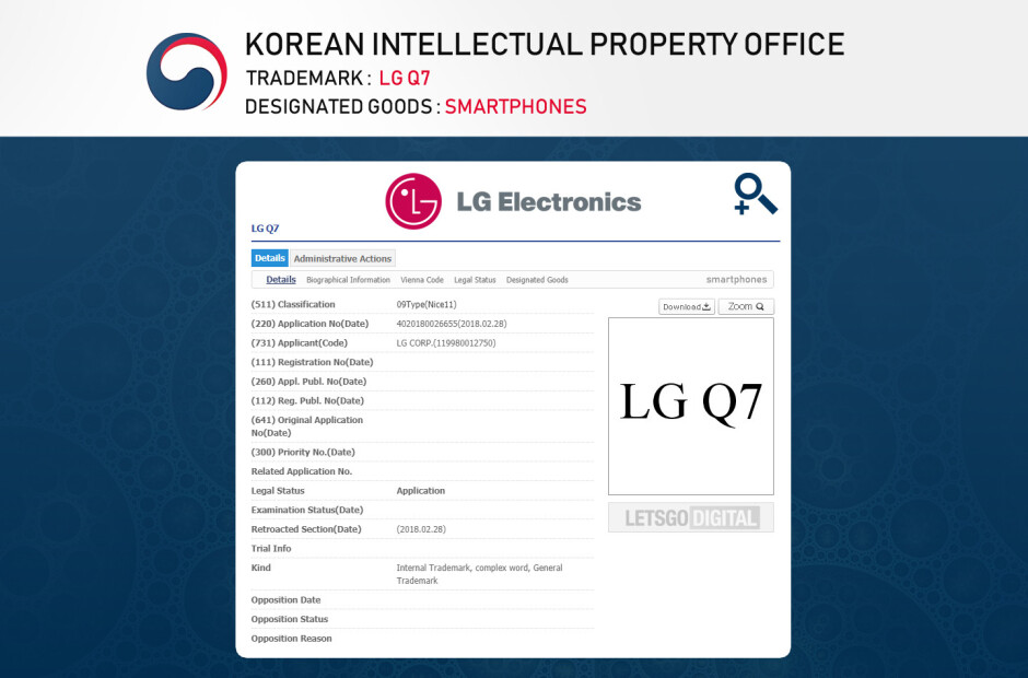 LG Q7 trademark - More evidence suggests LG Q7 may be launched alongside the G7 flagship