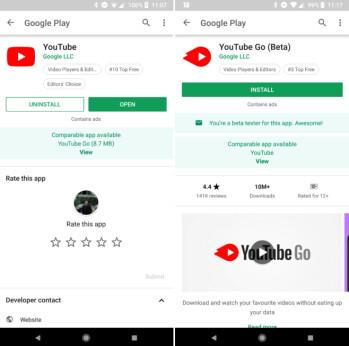 Google Play Store empfiehlt die Lite- und Android Go-Apps
