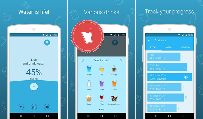 My Water Balance lets you keep track of all beverages you drink - Best free Android and iOS apps for a healthy lifestyle