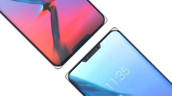 Render of the ZTE Iceberg concept phone shows a notch at the top (right) and another one at the bottom of the screen - ZTE concept phone has two notches, one on top and the other on bottom of the display