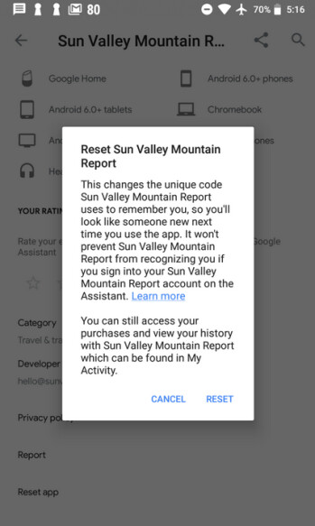 By resetting the code sent by Google to services, Assistant users can't be recognized by them