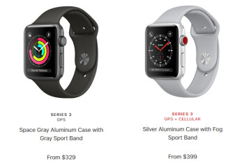Current starting prices for the 38mm base versions of the Apple Watch Series 3