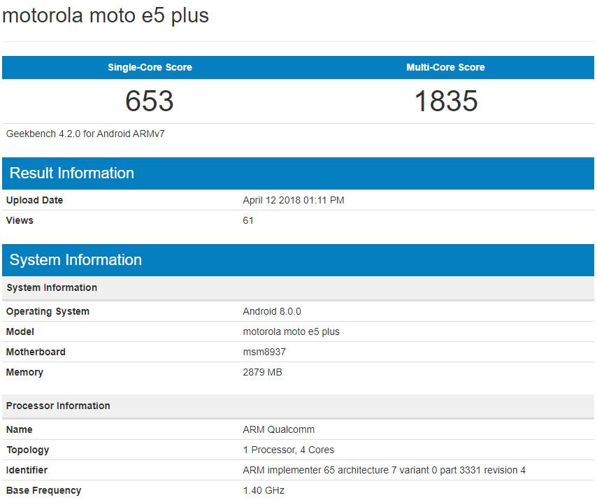 Specs for Motorola's next budget champ, the E5 Plus, leak in benchmark