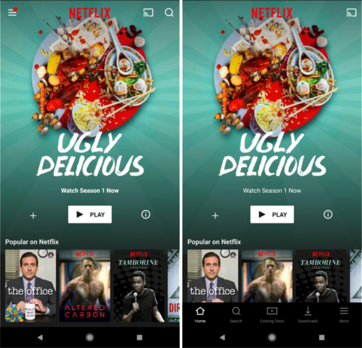 Old Netflix UI (left) vs new UI (right - Netflix beta for Android gets a refreshed UI