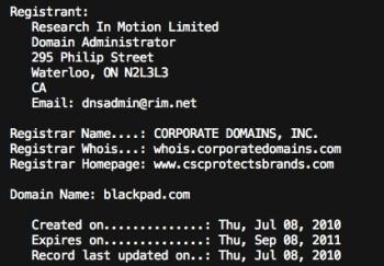 RIM claims the Blackpad domain name