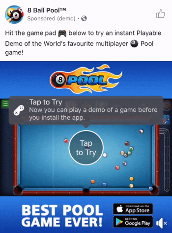 Example of a playable game ad on Facebook
