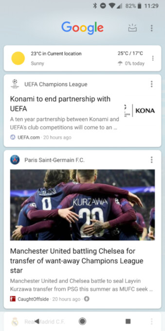 Current design (left) vs experimental new design (right) - The Google Feed gets redesigned again: Zero respect for Material Design, tons of wasted space