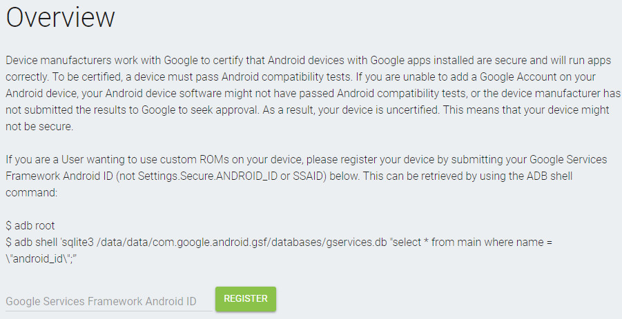 Whitelist your custom ROM Android for Gapps with Google