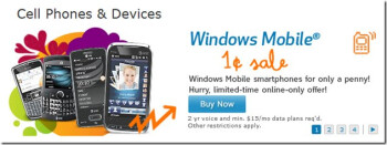 AT&T is dropping the price of their Windows Mobile phones to $0.01