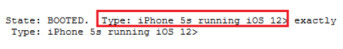 Excerpt from WebKit test showing that the Apple iPhone 5s was running iOS 12