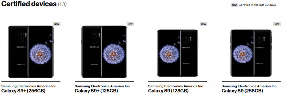 Verizon lists 128GB and 256GB Galaxy S9 versions