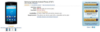 Samsung Captivate for AT&T is priced at $89.99 on-contract through Amazon