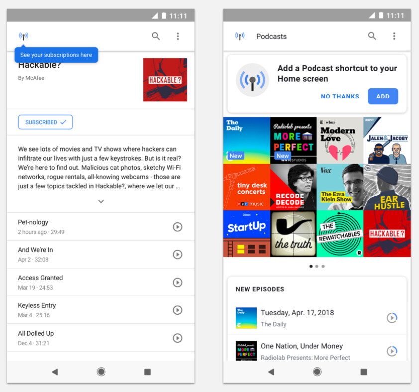 The new Google Podcasts homebase (right) - Google launches new podcast player on Android